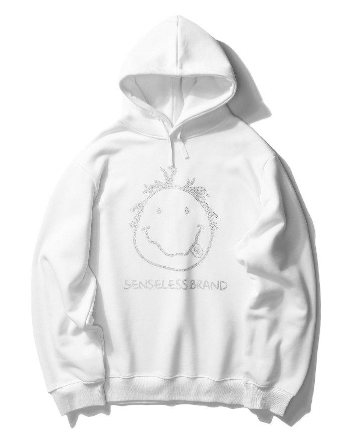 Men's High Street Smile Print Hoodie - White XL