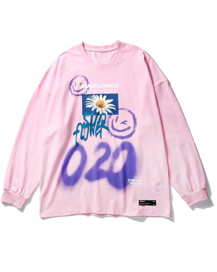 Men's High Street Graffiti Smile Print Tee - Pink XL