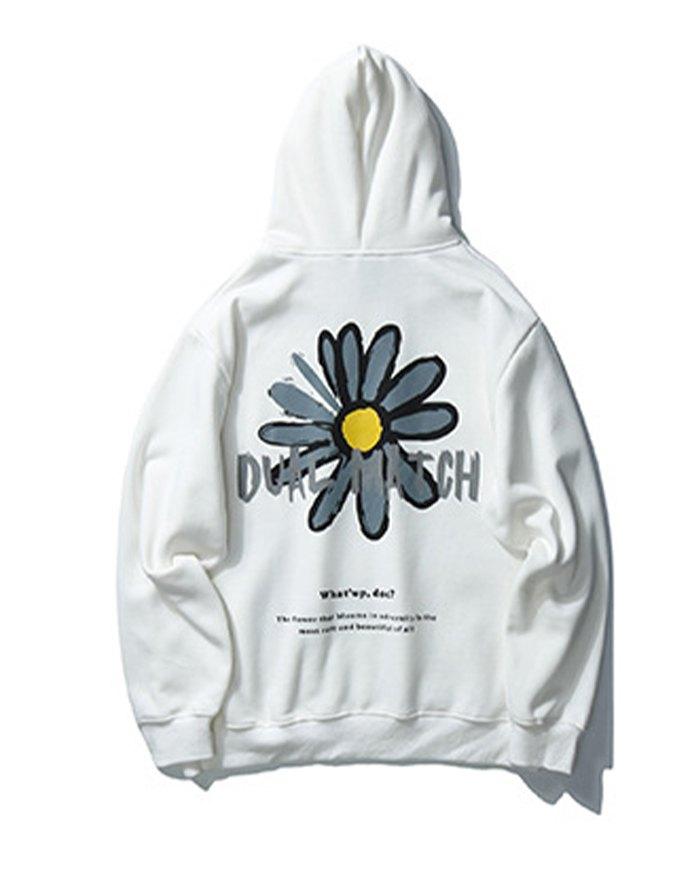 Men's High Street Sunflower Print Hoodie - White XL