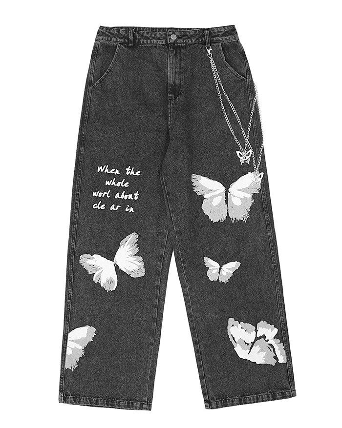 Men's Butterfly Print Straight Jeans - Black XL