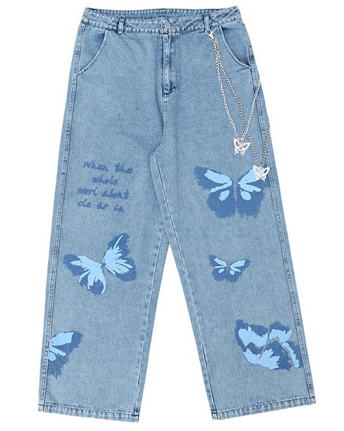 Men's Butterfly Print Straight Jeans - Blue XL