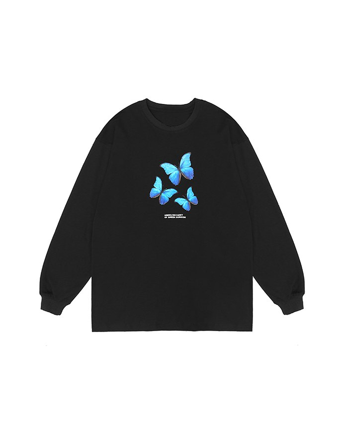 Men's Butterfly Print Sweatshirt - Black XL
