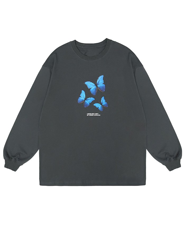 Men's Butterfly Print Sweatshirt - Gray XL