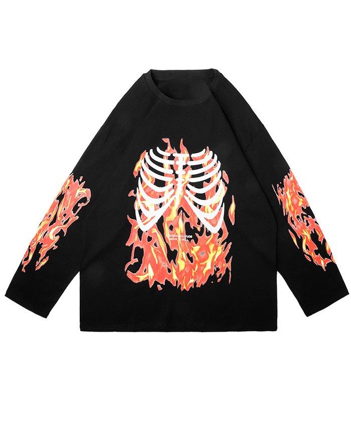 Men's High Street Skull Print Sweatshirt - Black L