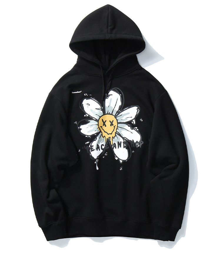 Men's High Street Smile Print Hoodie - Black XL