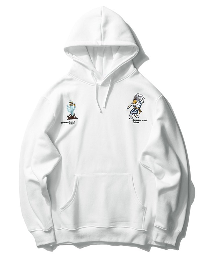 Men's High Street Smile Embroidered Hoodie - White XL