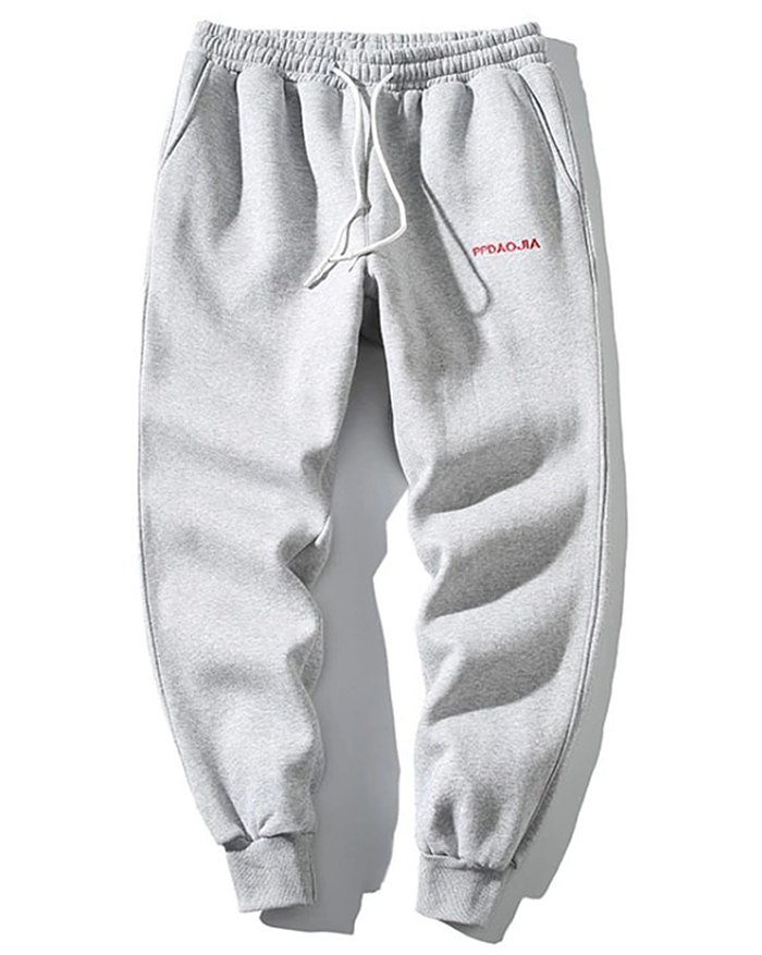 Men's Letter Embroidered Sweatpants - Gray 4XL