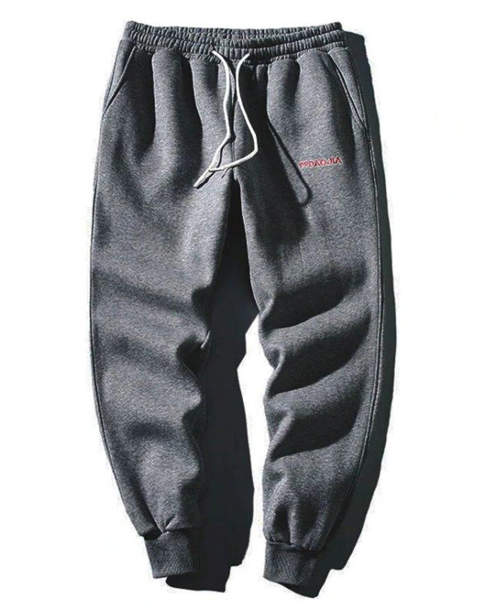 Men's Letter Embroidered Sweatpants - Dark Gray 4XL