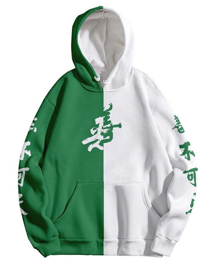 Men's Patchwork 3D Printed Hoodie - Green 4XL