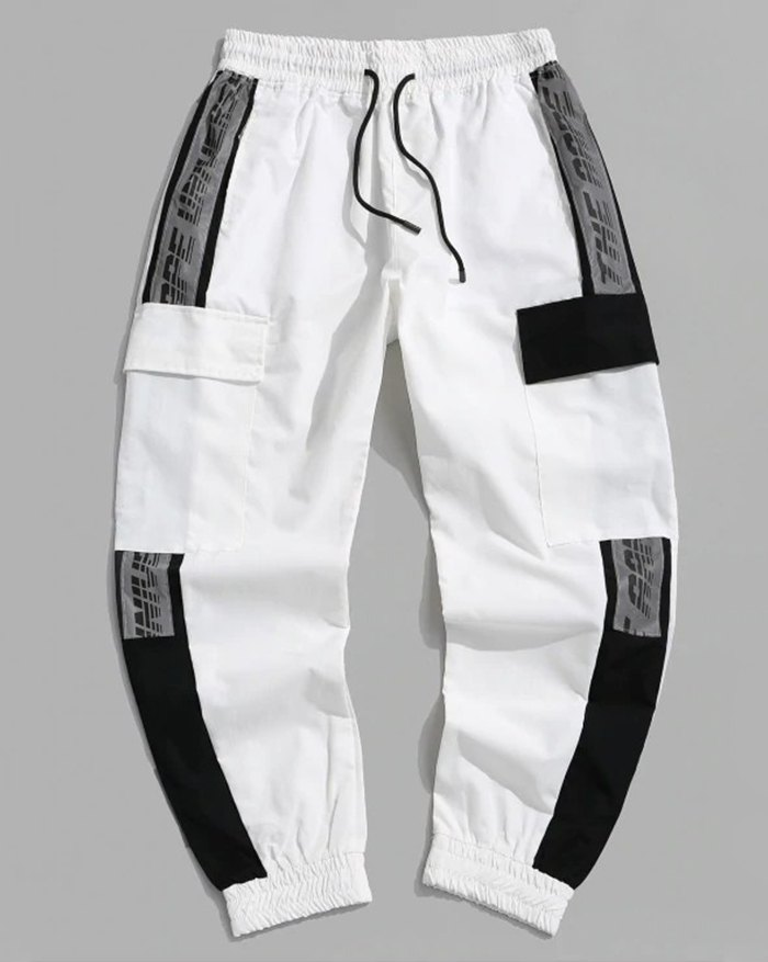 Men's Colorblock Letter Print Cargo Pants - White 2XL