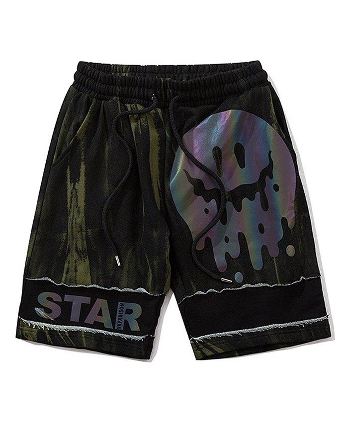 Men's Laser Reflective Cargo Short Pants - Chive XL