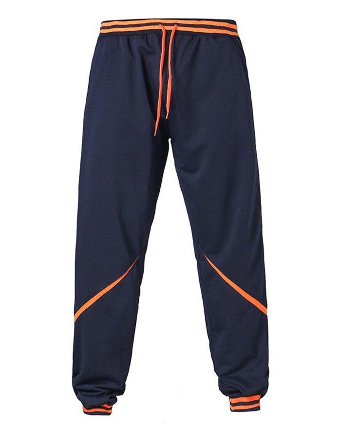 Men's Contrast Color Stitching Pants - Navy Blue 2XL