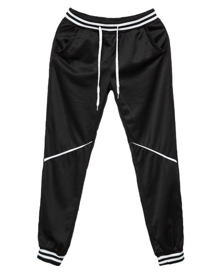 Men's Contrast Color Stitching Pants - Black 2XL