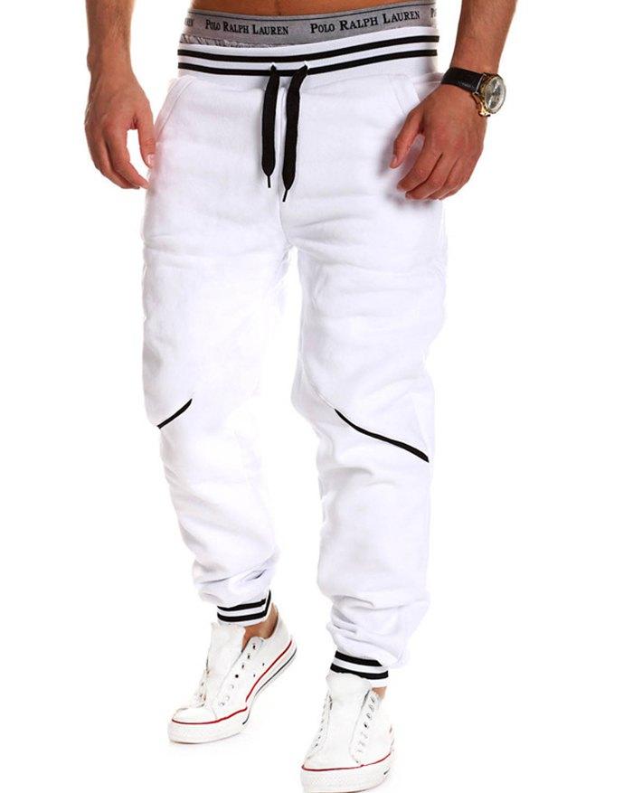 Men's Contrast Color Stitching Pants - White 2XL