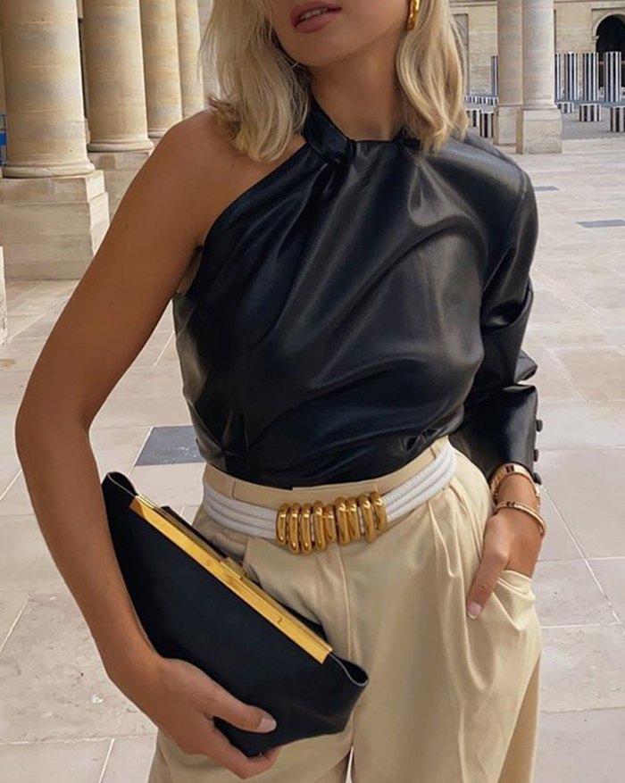 One Shoulder Asymmetric Leather Top - Black L
