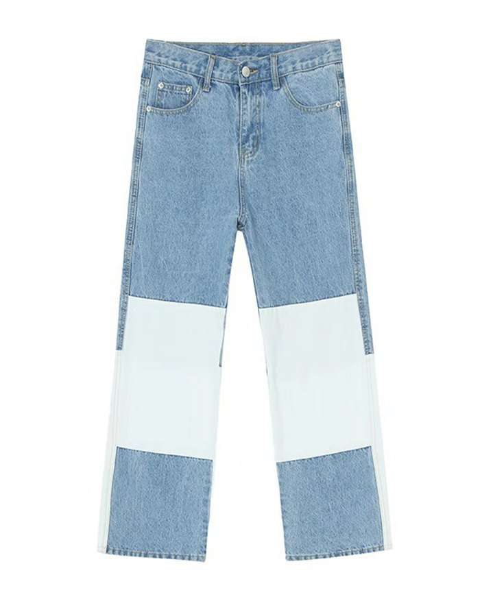 Men's Colorblock Patchwork Jeans - Blue XL