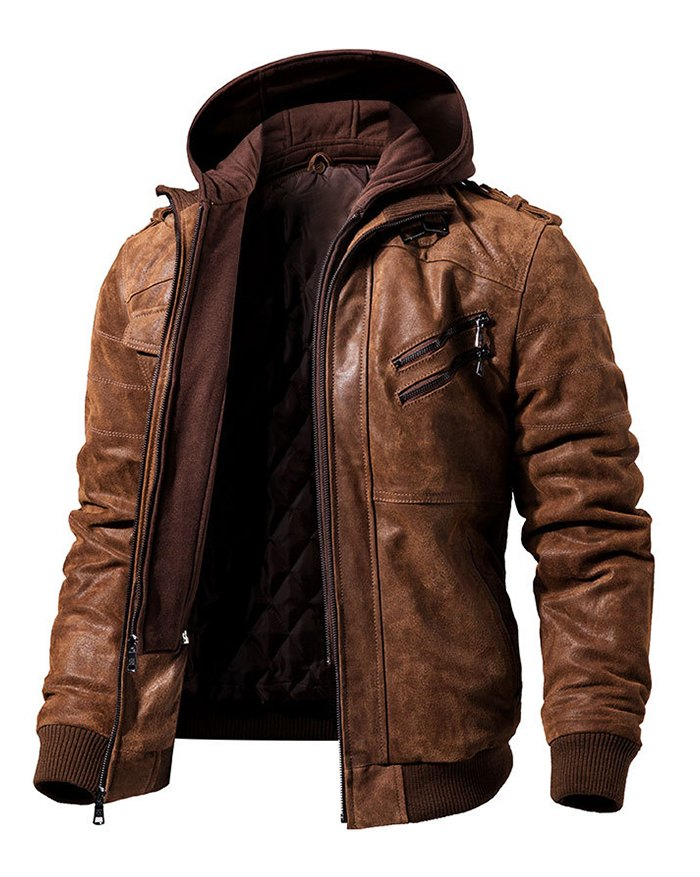 Men's Pu Zipper Trim Jacket - Brown 2XL