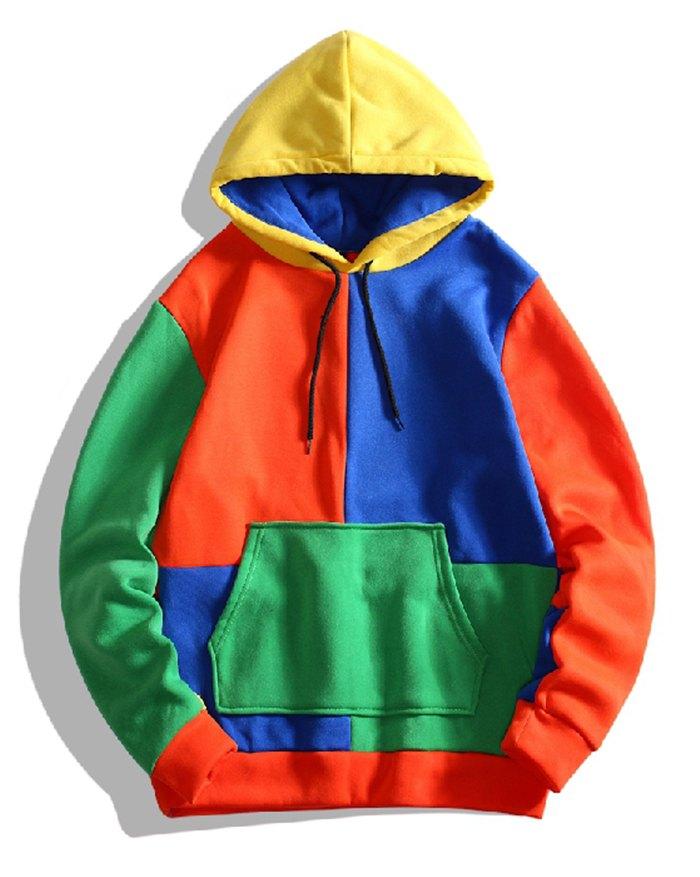 Men's Colorblock Casual Hoodie - Orange 2XL