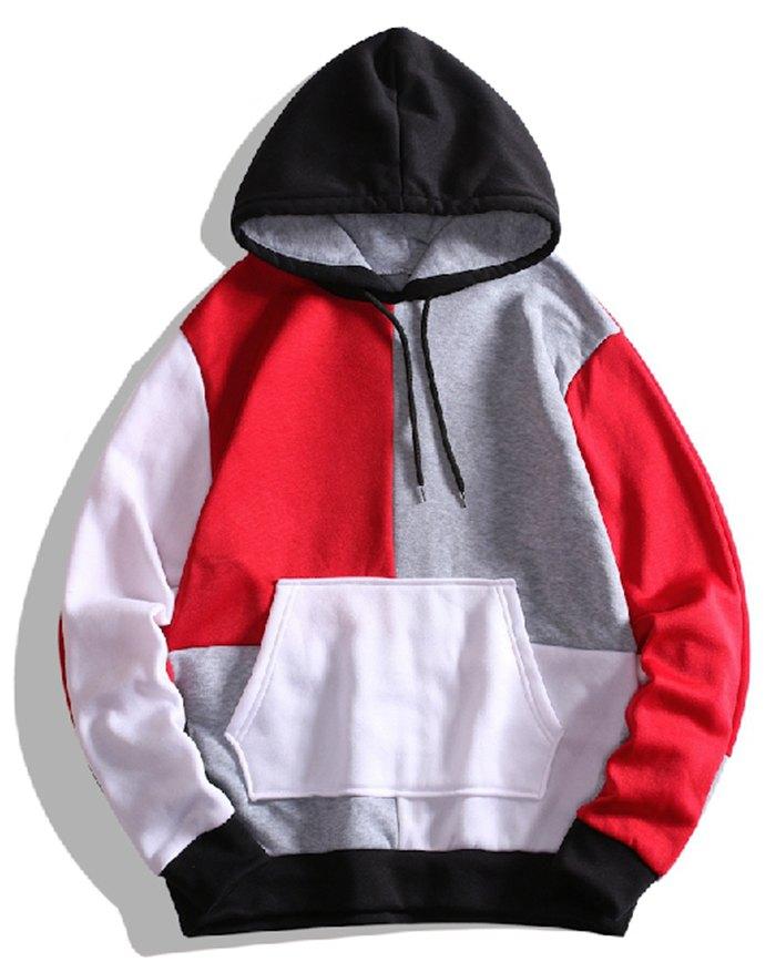Men's Colorblock Casual Hoodie - Red 2XL