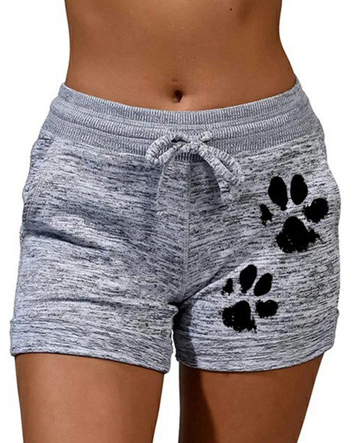 Cat Paw Print Thick Fila Shorts - Gray L