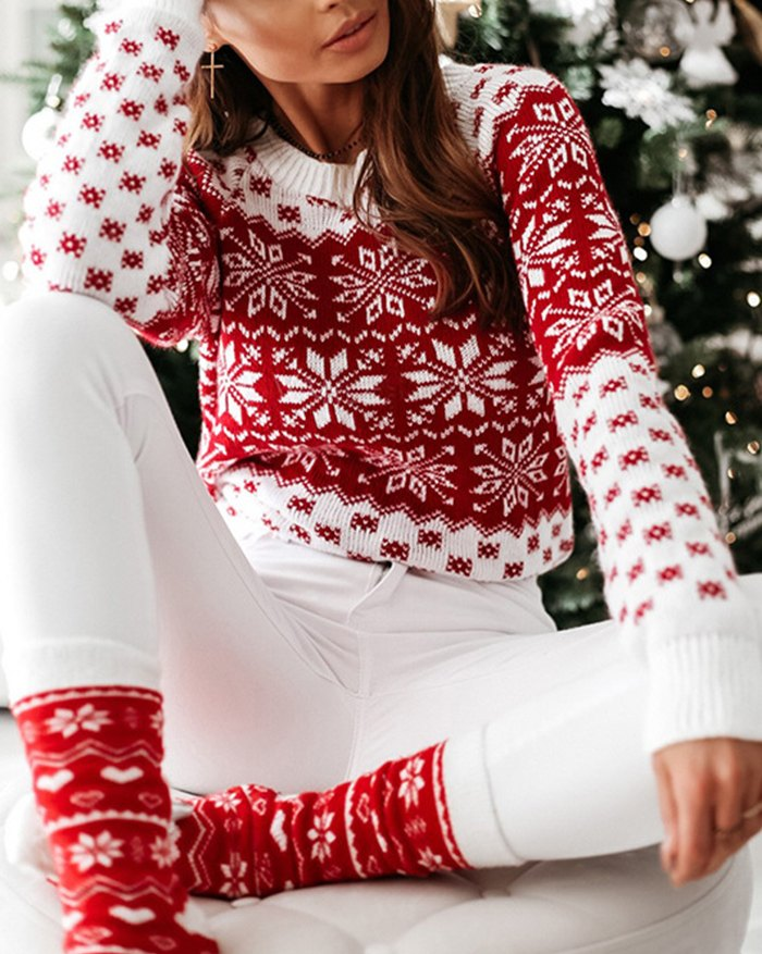 Christmas Snowflake Knitted Sweater - Red L