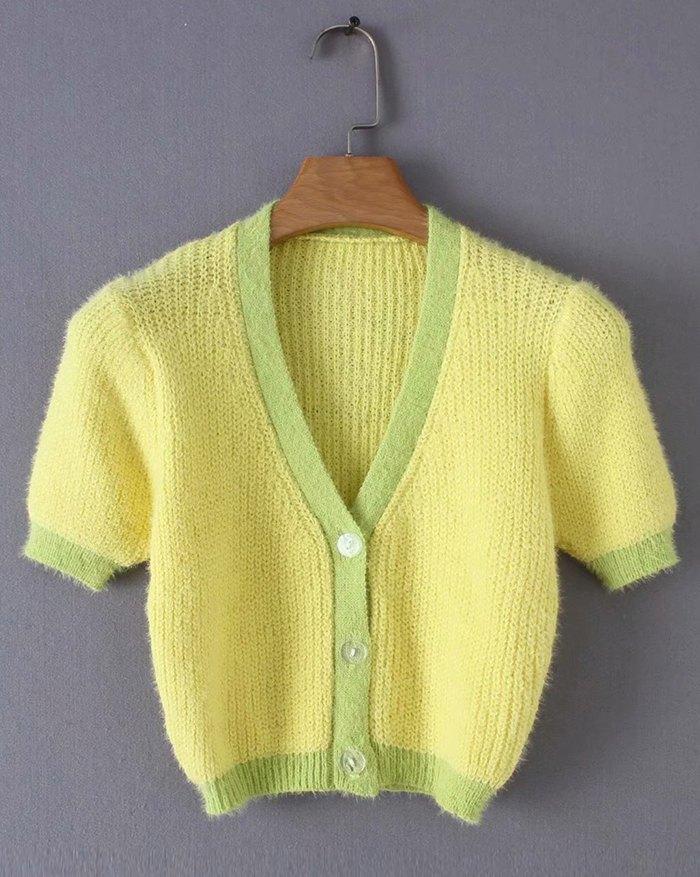 Contrast Vintage Patchwork Cardigan - Yellow L