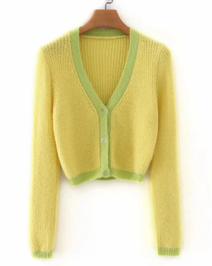 Contrast Patchwork Cardigan - Yellow L