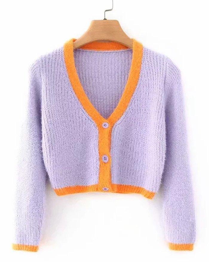 Contrast Patchwork Cardigan - Lilac L