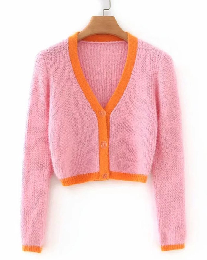 Contrast Patchwork Cardigan - Pink L