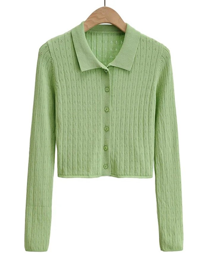 Hollow Out Solid Knit - Green M