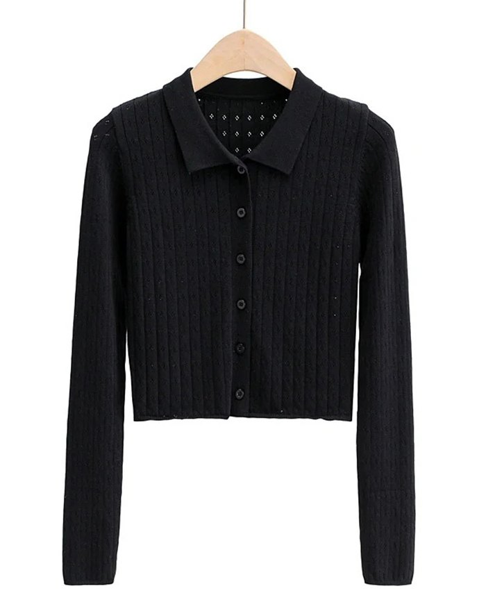 Hollow Out Solid Knit - Black M
