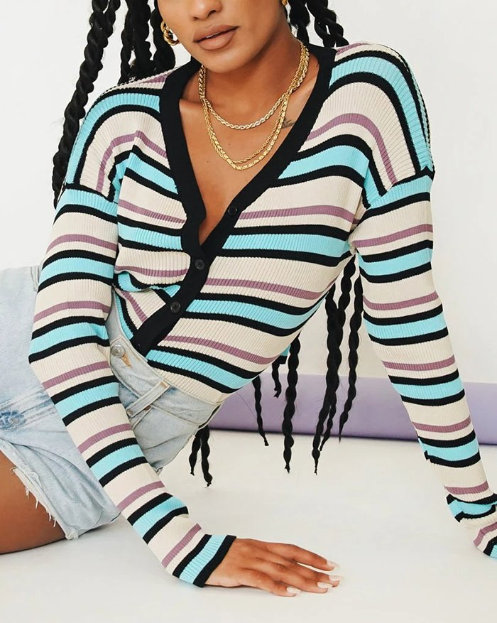 Striped Button Front Knit - Black L