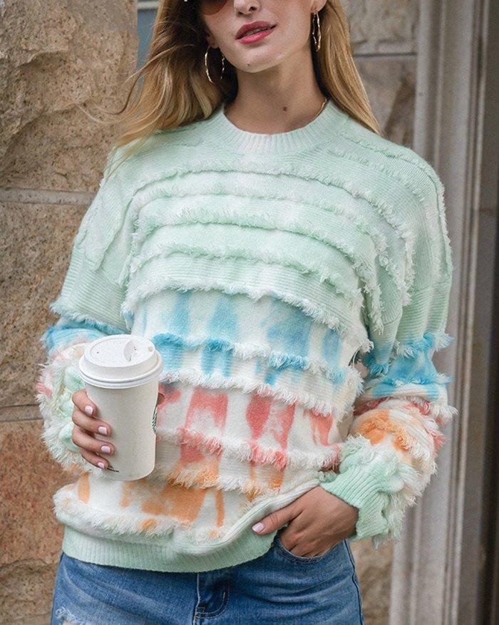 Tie Dye Sweater - Green XL
