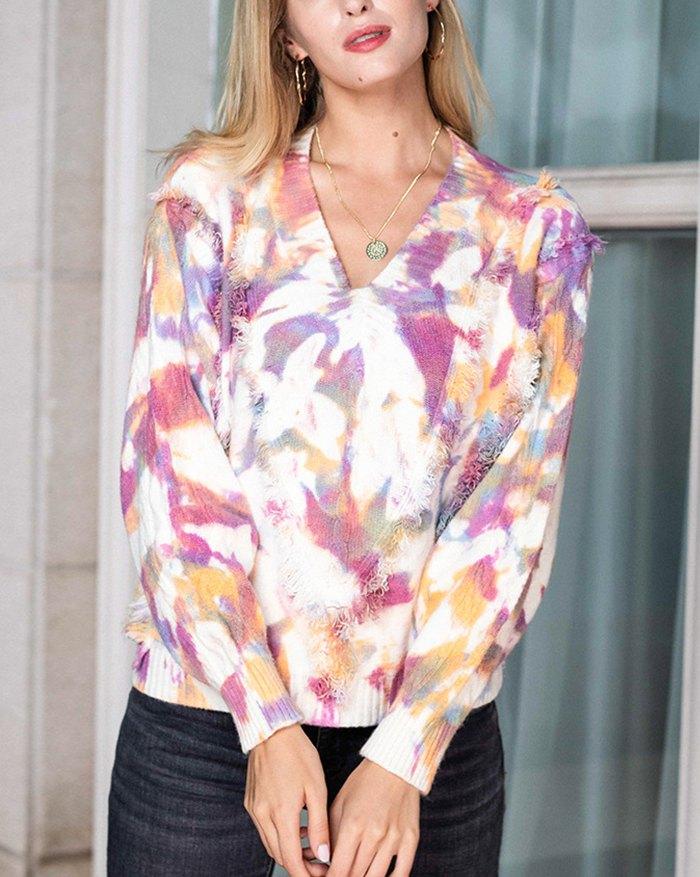 Tie Dye Tassel Sweater - Grape Compote XL