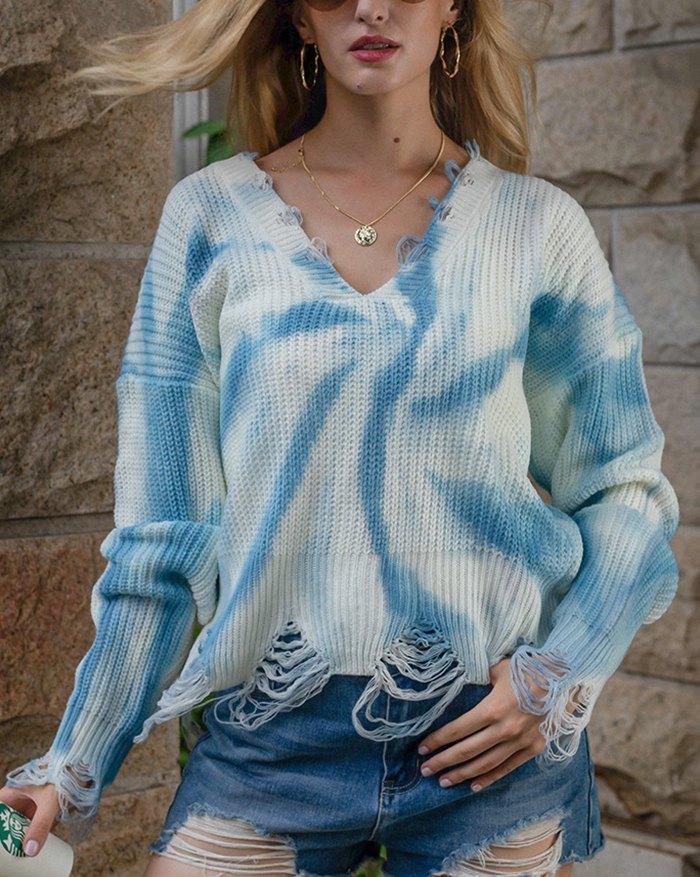 Tie Dye Tassel Sweater - Blue XL