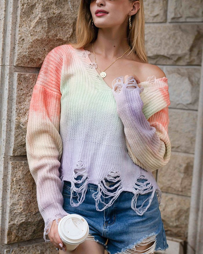 Tie Dye Tassel Sweater - Purple XL