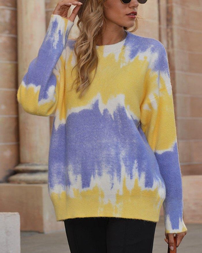 Tie Dye Gradient Color Sweater - Yellow XL