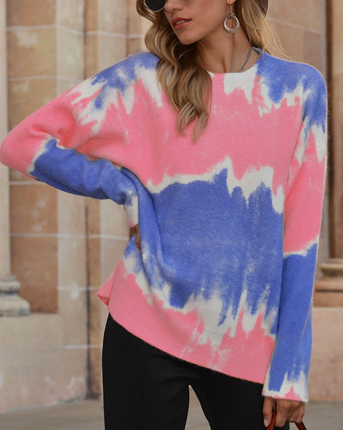 Tie Dye Gradient Color Sweater - Pink XL