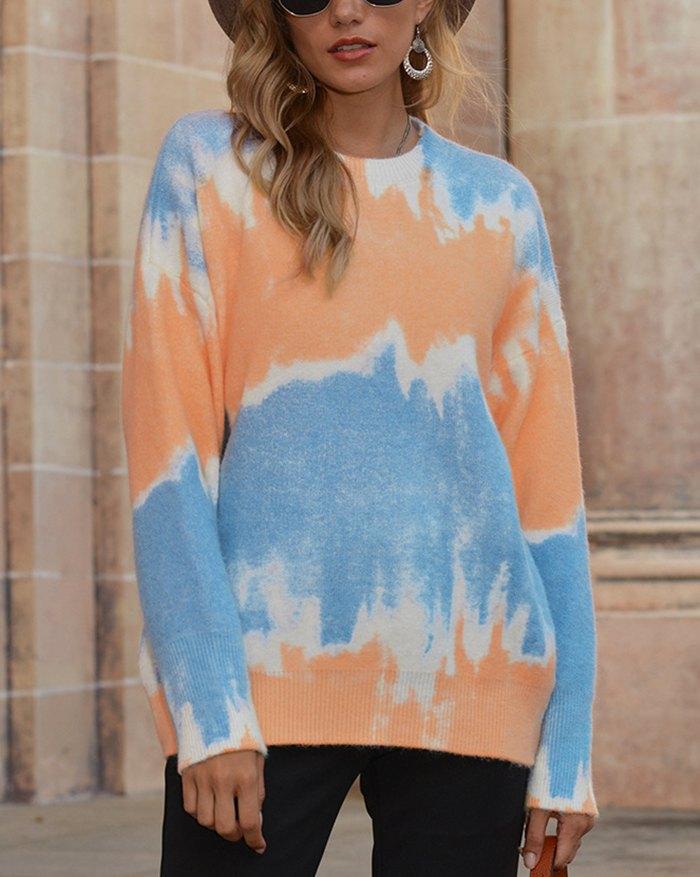 Tie Dye Gradient Color Sweater - Blue XL