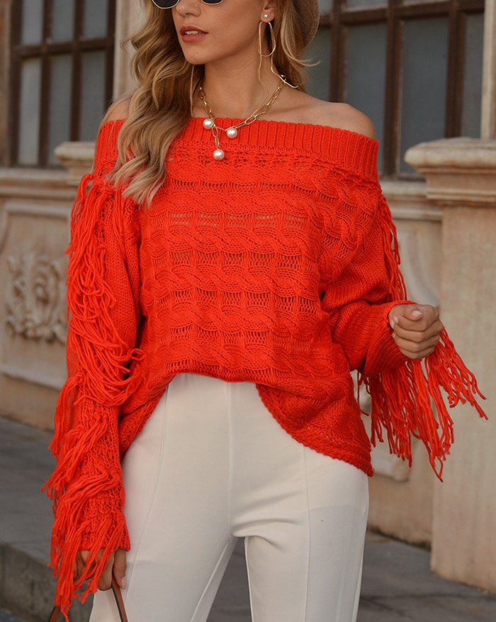 Off Shoulder Hollow Out Tassel Sweater - Red XL