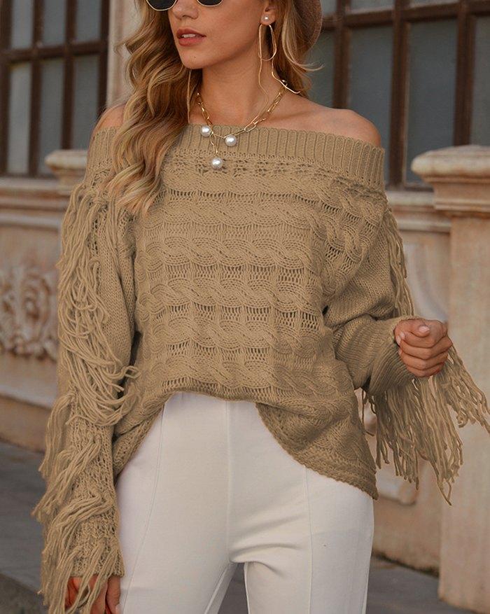 Off Shoulder Hollow Out Tassel Sweater - Camel XL