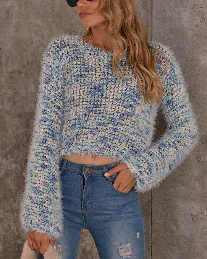 Popcorn Cropped Sweater - Blue XL