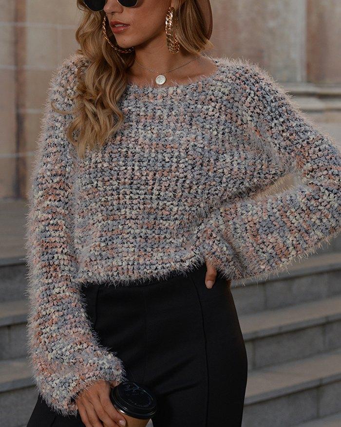 Popcorn Cropped Sweater - Gray XL