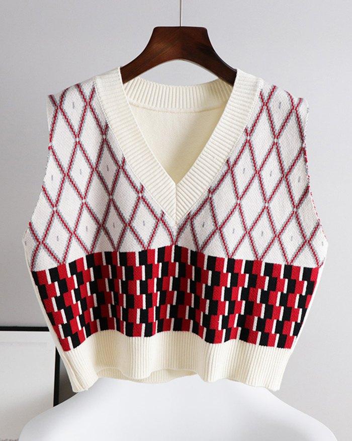 Argyle Vintage Sweater Vest - Apricot XL