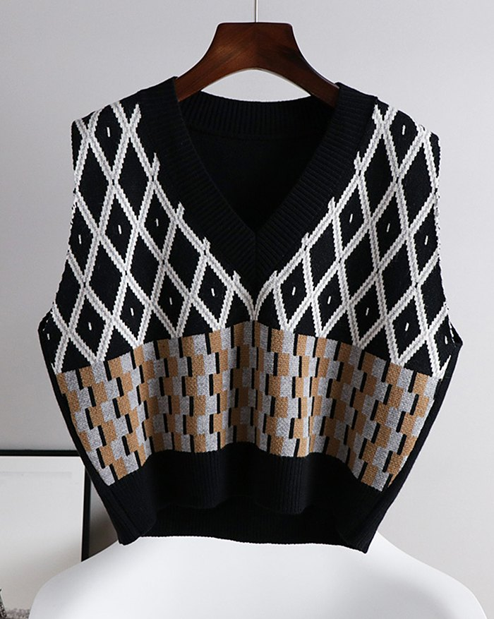 Argyle Vintage Sweater Vest - Black XL