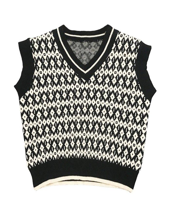 Argyle Vintage Sweater Vest - Black L