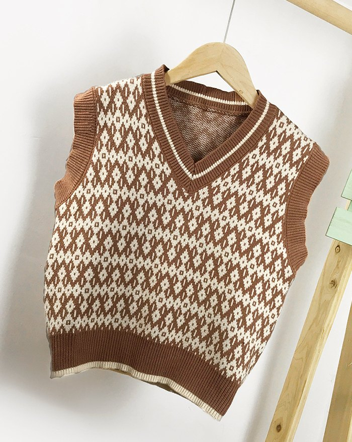 Argyle Vintage Sweater Vest - Camel L
