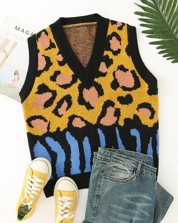 Vintage Pattern Print Sweater Vest - Yellow L
