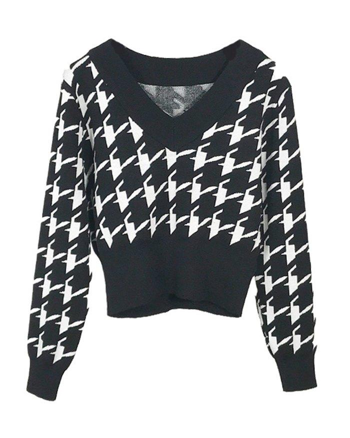 Houndstooth Vintage Sweater - Black L