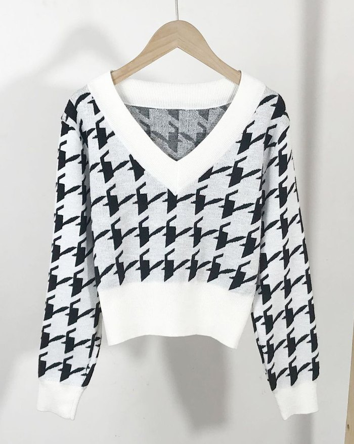 Houndstooth Vintage Sweater - White L